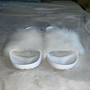 Ugg Australia white real fur slides size 9
